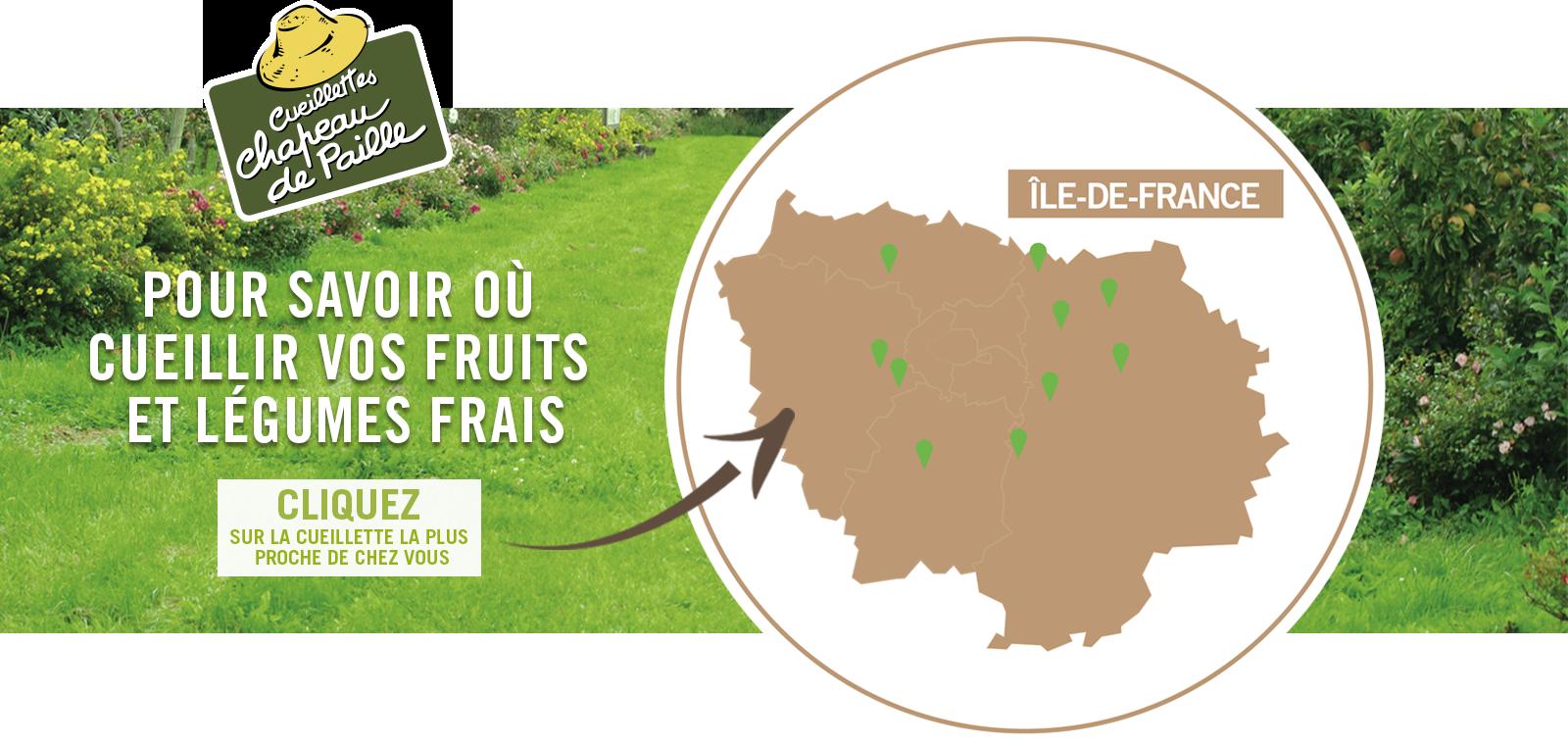 Carte de l'ile de France : Venez cueillir vos fruits et légumes frais, fraises, salades, tomates, courgettes, pommes, courges